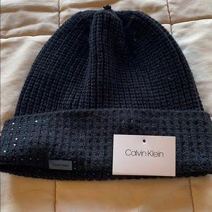 Calvin Klein ladies knit beaded hat